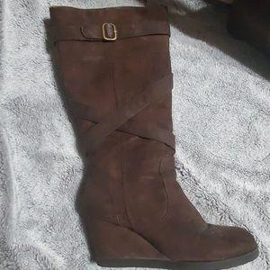 Robert Wayne brown suede Wedge Boots
